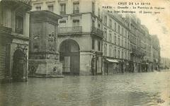 Fontaine du Gros-Caillou -  Carte postale 1910, éditeur Ernest Le Deley (E.L.D), la fontaine de Mars ou fontaine du Gros-Caillou (nommée ici fautivement fontaine de Neptune) lors des inondation de la Seine en 1910. Photographe inconnu.