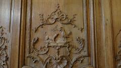 Hôtel de Noirmoutier ou de Sens, actuellement résidence du préfet de région - fable de La Fontaine, le coq et le renard, Boiseries de la salle à manger de l'Hôtel de Noirmoutier, Paris