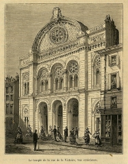 Synagogue - English: Wood engraving of the Grand Synagogue of Paris Published in