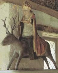 Chapelle et fontaine Notre-Dame des Fontaines -  Abbaye de Daoulas, statue en bois polychrome (XIIIe siècle) de saint Théleau