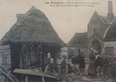 Grange à dîmes de Pors-Lambert - Français:   Penmarch: ferme bretonne (ancien manoir de Pors Lambert) au début du XXème siècle (photographe inconnu)