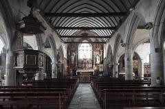 Eglise Saint-Pierre et chapelle funéraire - Deutsch: Katholische Pfarrkirche Saint-Pierre in Pleyber-Christ im Département Finistère (Region Bretagne/Frankreich), Innenraum