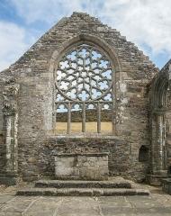 Ruines de la chapelle de Languidou - Deutsch: Fensterrose der Chapelle de Languidou nahe Plovan, Bretagne/Frankreich.