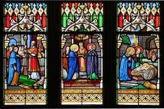 Eglise Notre-Dame-de-l'Assomption ou de Saint-Michel - Français:   Détail du vitrail représentant des épisodes de la vie de saint Joseph (XIXe s.) - Église Notre-Dame-de-l\'Assomption - Quimperlé (Finistère, France).