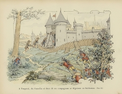 Donjon du château - English: Bertrand du Guesclin and two of his companions disguise themselves as woodcutters to capture the Castle of Grand-Fougeray 1354