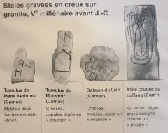 Tumulus à menhir du Moustoir-Carnac -  Signes on the steles
