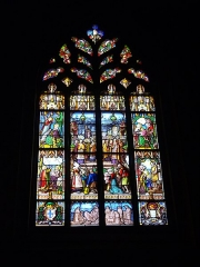 Eglise Notre-Dame-du-Roncier - Français:   Basilique Notre-Dame-du-Roncier de Josselin (Morbihan, France): vitrail du pardon de Sainte-Anne-d\'Auray