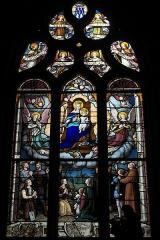 Chapelle Saint-Méen - Deutsch: Kapelle Saint-Méen in Ploemel im Département Morbihan (Region Bretagne/Frankreich), Bleiglasfenster mit der Signatur E. LAUMONNIER 1903 VANNES