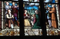 Chapelle Saint-Méen - Deutsch: Kapelle Saint-Méen in Ploemel im Département Morbihan (Region Bretagne/Frankreich), Bleiglasfenster mit der Signatur E. LAUMONNIER 1903 VANNES (Ausschnitt)