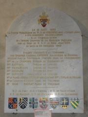 Eglise Notre-Dame - English:   Vergheas (Puy-de-Dôme) église plaque statue ND de Vergheas