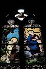 Eglise Saint-Pierre - Deutsch: Katholische Kirche Saint-Pierre in Moulins im Département Allier (Auvergne-Rhône-Alpes/Frankreich), Bleiglasfenster aus dem 19. Jahrhundert; Darstellung: Heiliger Dominikus empfängt von Maria den Rosenkranz