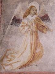 Eglise Notre-Dame-de-Tramesaygues - Français:   L\'un des quatre anges musiciens représentés sur les voûtes du porche.
