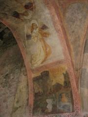 Eglise Notre-Dame-de-Tramesaygues - Français:   Peinture murale en l\'église d\'Audressein (Ariège-France): ange musicien jouant de la vielle médiévale à l\'aide d\'un archer.