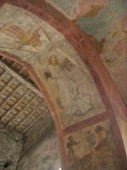 Eglise Notre-Dame-de-Tramesaygues - Français:   fresque murale en l\'église d\'Audressein (Ariège-France): ange musicien jouant de la flûte à bec médiévale.