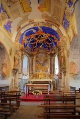 Eglise Saint-Pierre d'Ourjout - Français:   Les Bordes-sur-Lez (Ariège, France), église romane d\'Ourjout (fin XIe-début XIIe siècle, intérieur du XVIIIe), autel retable, baldaquin et 6 chandeliers, tous classés M.H..