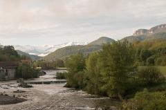 Pont -   View, from the bridge over the Salat, on a few peaks of the Pyrenees of Ariège: Mount Valier ,Peak of Montau, Peak Soubirou.