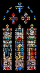 Eglise - English: Stained glass window of the Saint Géraud church of Salles-Curan, Aveyron, France. Work of the first quarter of the 16th century.
