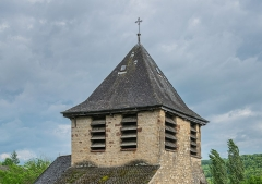 Eglise Saint-Austremoine - English: Bell tower of the Saint Austremonius church in commune of Salles-la-Source, Aveyron, France
