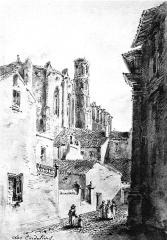 Ruines de l'église des Cordeliers - Français:   L\'église des Cordeliers de Toulouse, dessin de Ferdinand Mazzoli (1821-1895), extrait de Le Vieux Toulouse disparu, 1885