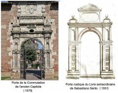 Ancienne porte du Capitole réédifiée dans le jardin des Plantes de Toulouse - Français:   Influence d\'une porte rustique du Livre extraordinaire de Serlio sur une porte de l\'ancien Capitole de Toulouse (1575).
