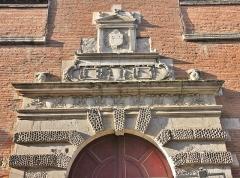 Ancien petit Séminaire de l'Esquile - Français:   Portail Renaissance du portail du collège médiéval de l\'Esquile, attribué à Nicolas Bachelier (1556)