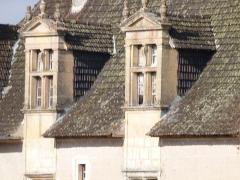 Château de Couanac - Français:   Lucarnes vues de face et pans de toiture du château de Couanac (façade sud)