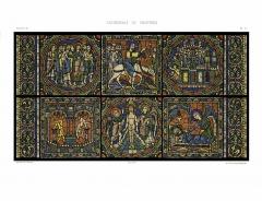 Cathédrale Notre-Dame - Deutsch: Aus der Mappe: Monografie de la Cathedrale de Chartres - Atlas (1867), Glasfenster: Das Leben von Jesus, 12. Jhdt.