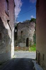 Château de Pouzieux -  Châtillon-sur-Indre (Indre)  La tour restante de la porte nord du château.
