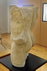 Ancien hôtel-Dieu - Issoudun (Indre).  Musée de l\'Hospice Saint-Roch.   Torse en pierre d\'époque gallo-romaine, trouvé à Issoudun au XIXe siècle. )