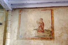 Ancienne collégiale Sainte-Menehould, actuelle église Saint-Sulpice - Palluau-sur-Indre (Indre)  Eglise Saint-Sulpice, anciennement collégiale Sainte-Menehould.   Peinture murale réprésentant un seigneur de Tranchelion en prière, fin XVe ou début XVIe siècle.