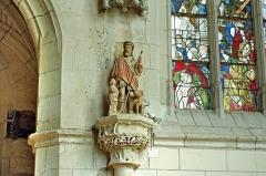 Ancienne collégiale Sainte-Menehould, actuelle église Saint-Sulpice - Palluau-sur-Indre (Indre)  Eglise Saint-Sulpice, anciennement collégiale Sainte Menehould.   Statue polychrome de saint Roch (XVIIe siècle)