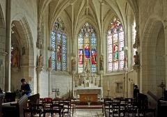 Ancienne collégiale Sainte-Menehould, actuelle église Saint-Sulpice - Palluau-sur-Indre (Indre)  Eglise Saint-Sulpice, anciennement collégiale Sainte Menehould.   Le chevet, de la fin du XVe siècle, en style gothique flamboyant.