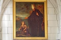 Ancienne collégiale Sainte-Menehould, actuelle église Saint-Sulpice - Palluau-sur-Indre (Indre).  Ancienne collégiale Sainte-Menehoulde, actuelle église Saint-Sulpice.  Saint-Augustin et l\'enfant à la coquille.  Huile sur toile du milieu du XIXe siècle, copie de Pauline Logerot d\'après Murillo. L\'original serait au couvent des Augustins à Séville. Mlle Pauline Logerot aurait exposé au Musée Royal en 1841 et 1843.    L\'anecdote:  Saint Augustin, Evêque d\'Hippone, en Afrique du Nord, se promenait un jour au bord de la mer. Il aperçoit tout à coup un jeune enfant allant et venant sans cesse du rivage à la mer: l\'enfant avait creusé dans le sable un petit bassin et allait chercher de l\'eau avec un coquillage pour la verser dans son trou. Le manège de cet enfant intrigue l\'Evêque qui lui demande:  - Que fais-tu là?  - Je veux mettre toute l\'eau de la mer dans mon trou.  - Mais, mon enfant, c\'est impossible! La mer est immense, et ton bassin tout petit!   - C\'est vrai, dit l\'enfant. Mais j\'aurai pourtant mis toute l\'eau de la mer dans mon trou avant que vous n\'ayez compris le mystère de la Sainte Trinité.