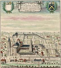 Eglise abbatiale Saint-Pierre-Saint-Paul - Français:   Beaulieu-lès-Loches, Veüe de l\'abbaye de la Sainte Trinité à Beaulieu prèz la ville de Loches, de l\'ordre de Saint Benoist, congrégation de Saint-Maur, fondée par Foulque Nerra