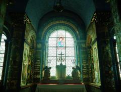 Eglise Notre-Dame - Deutsch:   Chorfenster der Kirche Unserer Lieben Frau, Rivière, Département Indre-et-Loire, Region Zentrum-Loiretal, Frankreich