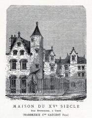 Hôtel - Français:   Estampe MAISON DU XVE SIECLE - Rue Bretonneau, à Tours