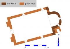 Ancienne chapelle Saint-Laurent - Français:   Plan de la chapelle Saint-Laurent de Veigné