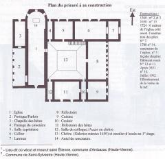 Prieuré Notre-Dame et Saint-Etienne de Villiers -  Plan du Prieuré de Grammont-Villiers situé sur la commune de Villeloin-Coulangé en Indre-et-Loire