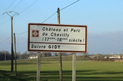 Château - English: Road sign at Chevilly, France.