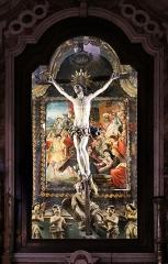Eglise de la Conception - Français:   Église de la Conception de Bastia, panneau peint vers 1510 représentant Jésus tombant sous le poids de sa croix, réaménagé en fond de décor pour le Christ en croix en bois de figuier et probablement d\'origine génoise, du XVIIe siècle.
