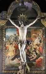 Eglise de la Conception - English:   Église de la Conception de Bastia, panneau peint vers 1510 représentant Jésus tombant sous le poids de sa croix, réaménagé en fond de décor pour le Christ en croix en bois de figuier et probablement d\'origine génoise, du XVIIe siècle.