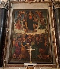 Eglise Sainte-Marie, ancienne cathédrale - Corsu: Pittura nant'à legnu chì si trova in a catedrale Santa Maria Assunta in Bastia, in a citatella. L'opera hè di Leonoro dell'Aquila, pittore ligure (1512).