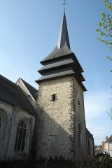 Eglise - Deutsch:   Katholische Kirche Saint-Hilaire in Tillières-sur-Avre im Département Eure (Region Normandie/Frankreich), Glockenturm