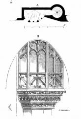 Ancienne abbaye -   ... Voici (fig. 4) une de ces petites tribunes closes, pratiquée dans le mur de face du bas côté de l\'église abbatiale de Montivilliers (Seine-Inférieure). Cette église est romane; mais, au XVe siècle, on rétablit un bas  côté, dans le mur duquel est ménagée une tribune ...