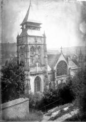 Eglise Saint-Ouen de Longpaon - Français:   Eglise Saint-Ouen de Longpaon, clocher, photographie en négatif par Enlart, Camille (historien).