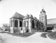 Eglise Saint-Ouen de Longpaon - Français:   Eglise Saint-Ouen de Longpaon, ensemble Nord-Est, photographie en négatif par Neurdein Frères (photographes).