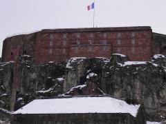 Château, actuellement musée d'Art et d'Histoire, et enceinte urbaine - Le Lion de Belfort et la citadelle (Territoire de Belfort, France).