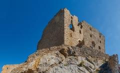 Ruines du château de Quéribus - English: Third ring wall, Château de Quéribus, Cucugnan, Département Aude, France
