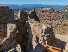 Ruines du château de Quéribus - English: Rooms behind the third ring wall, Château de Quéribus, Cucugnan, Département Aude, France