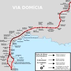 Via Domitia (également sur communes de Redessan et Jonquières-Saint-Vincent, dans le Gard, et Castelnau-le-Lez, dans l'Hérault) - Português: Mapa da Via Domícia